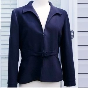 Valentino Navy Blue Tailored Belted Jacket Sz 12